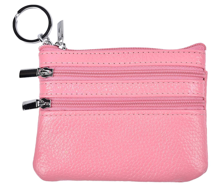 ba7ca5f9917 Amazon.com  Yaoqiaoji Womens Mini Coin Purse Wallet Genuine Leather Zipper  Pouch with Key Ring (Pink)  Home   Kitchen