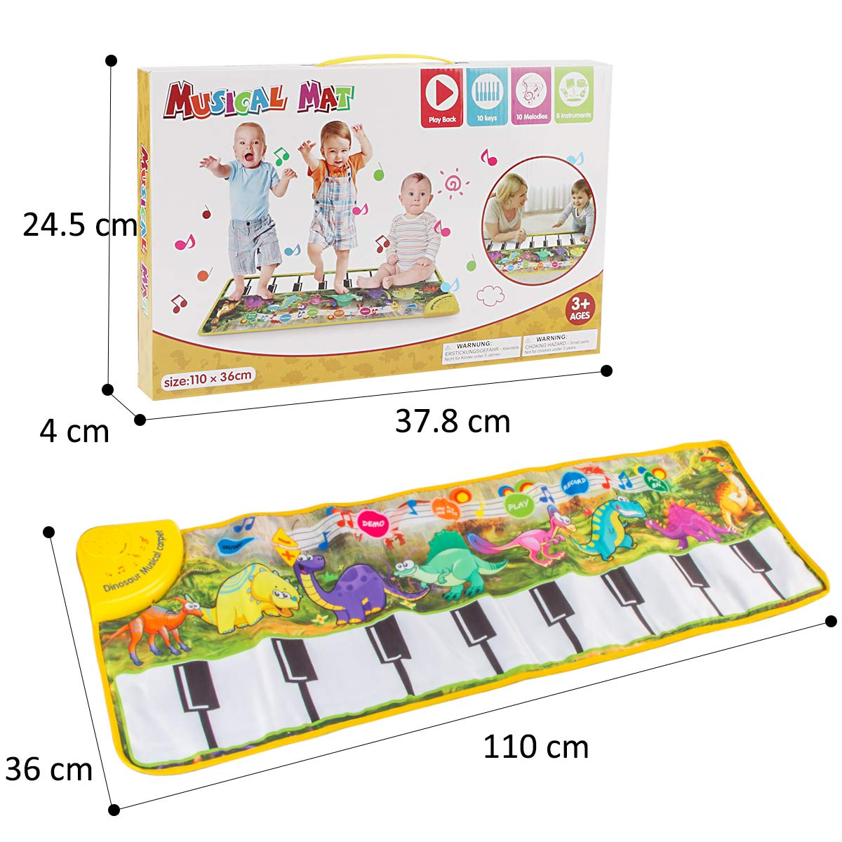 Piano Mat, Tencoz Musical Piano Mat with 8 Dinosaurs Sounds Portable Electronic Educational Musical Blanket Dinosaur Toys Gifts for Kids Toddler Girls Boys by Tencoz (Image #7)