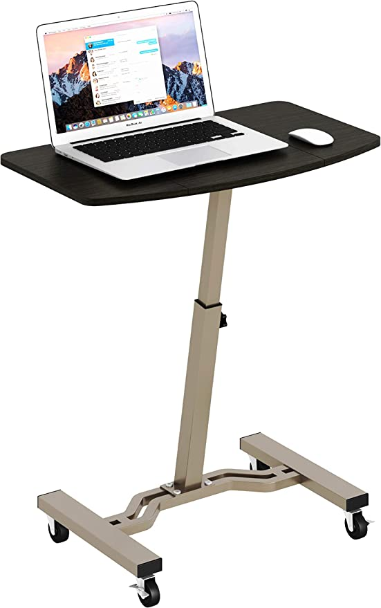 Shw Height Adjustable Mobile Laptop Stand Desk Rolling Cart Height Adjustable From 28 To 33 Office Products