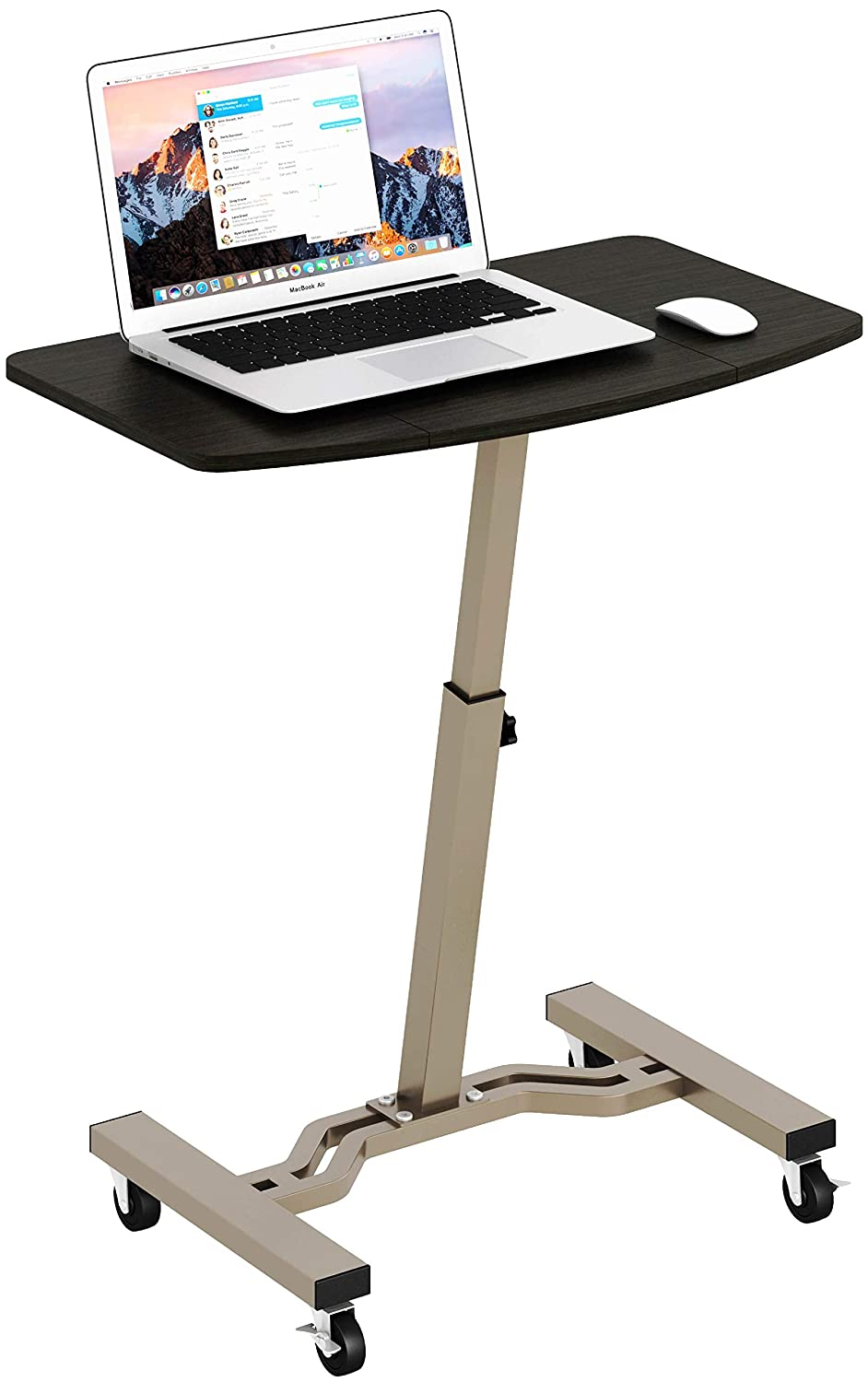 SHW Height Adjustable Mobile Laptop Stand Desk Rolling Cart, Height Adjustable from 28 to 33