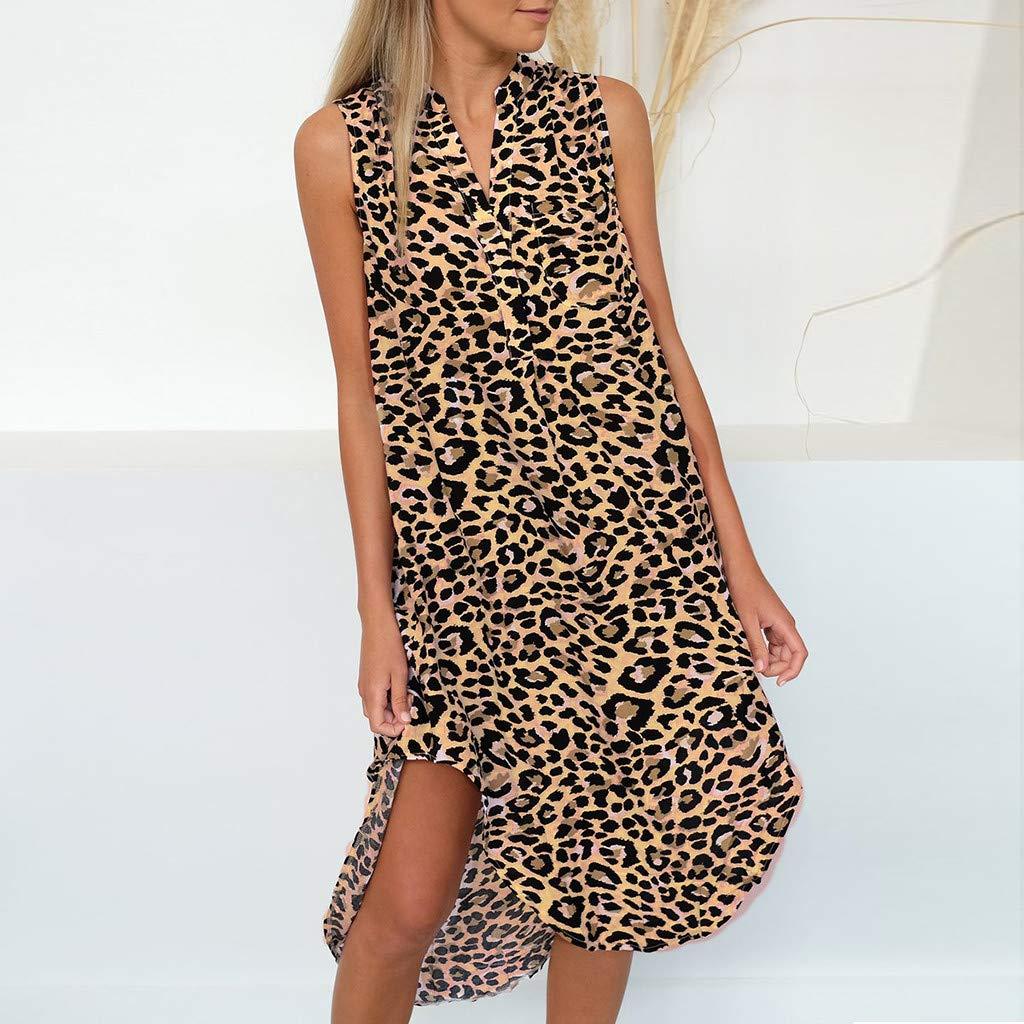 80c5bd860fa0 Amazon.com: VonVonCo Women Fashion Sleeveless Leopard Print Dress ...