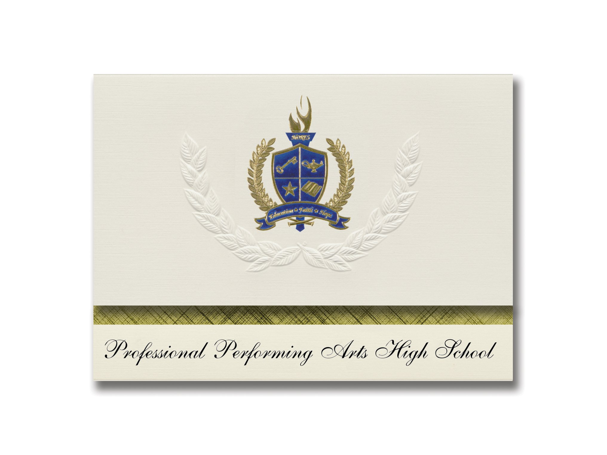 Signature Announcements Elite Performing Arts High School (New York, NY) Graduation Announcements, Presidential Elite Pack 25 with Gold & Blue Metallic Foil seal