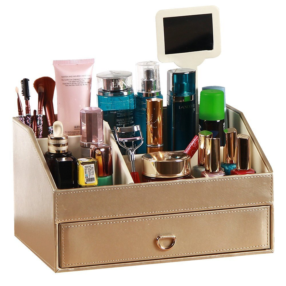 PU Leather Cosmetic Organizer, Cosmetics Storage Boxes Wood MDF Makeup Organizer Jewelry Case with mirror Gifts for Lady Girl (Gold)