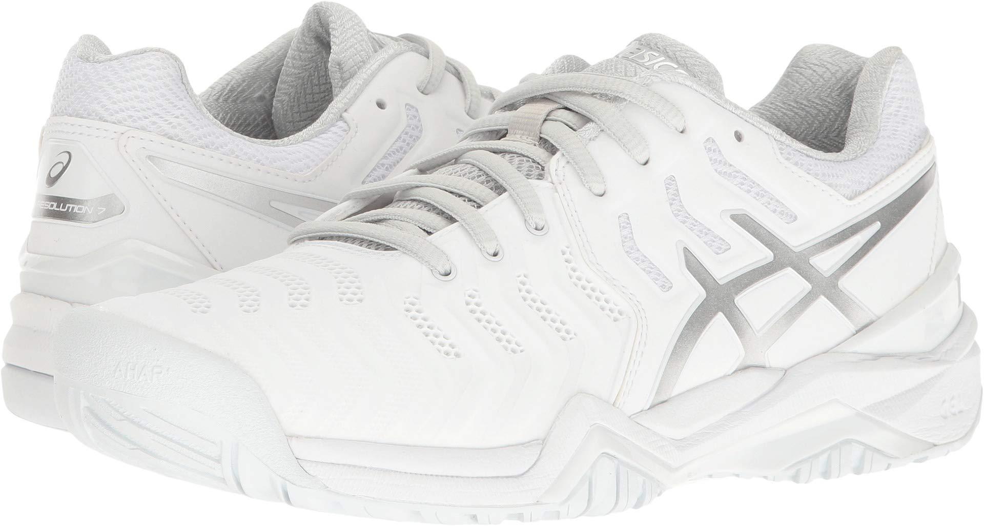 ASICS Women's Gel-Resolution 7 Tennis Shoe, White/Silver, 8.5 M US by ASICS