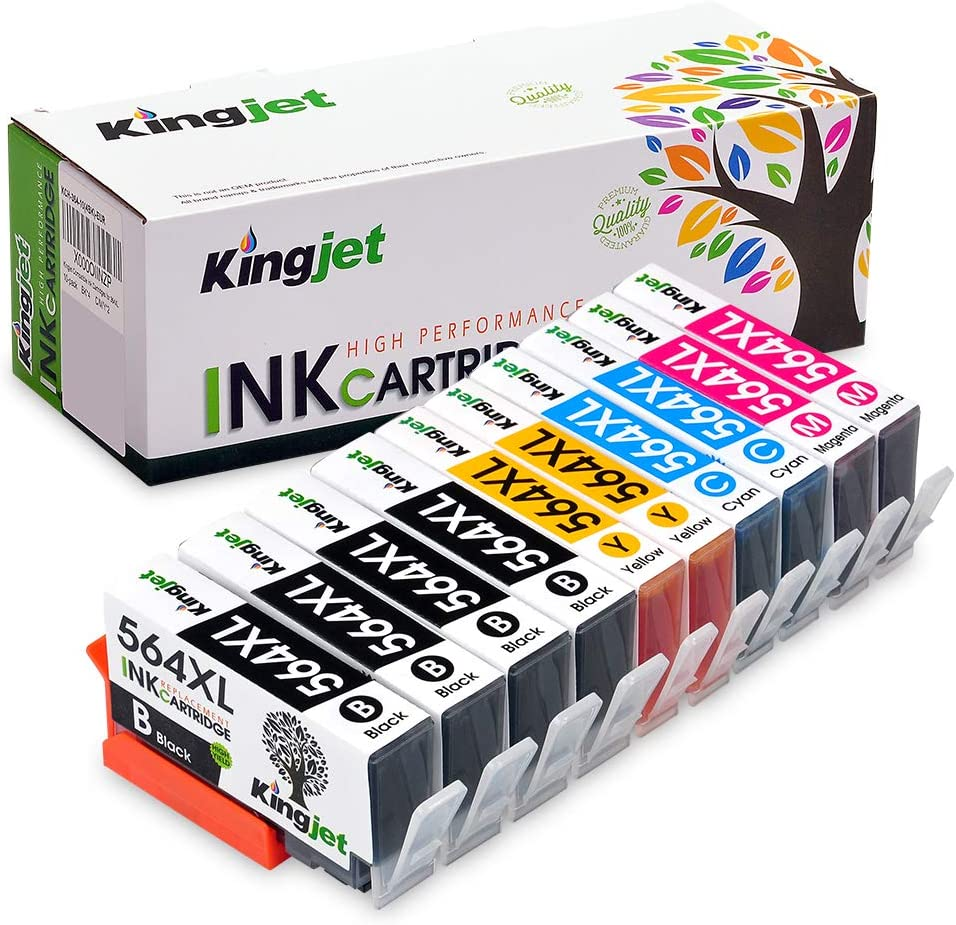Kingjet Compatible Replacement for 564, 564XL Ink Cartridge Work with Photosmart 5510 5520 5525 6510 6512 6520, Officejet 4610 4620 4622, Deskjet 3520 3521 3522, 10Pack (2SET + 2BK)- 4 Color
