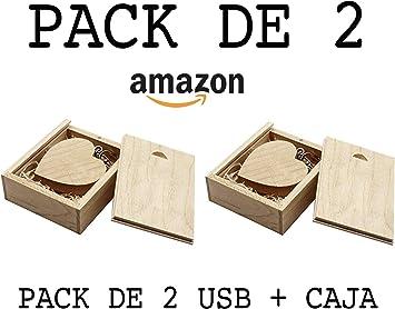 USB de Madera (16GB) PACK de 2 USB Corazón De Madera + Caja de ...