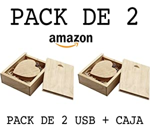 Luglez Pack de 2 USB (16 GB) Corazón De Madera + Caja de Madera
