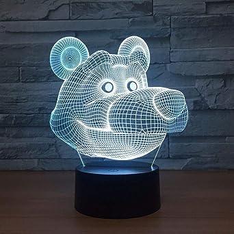 KangYD Lámpara LED de oso de dibujos animados, Luz de noche 3D ...