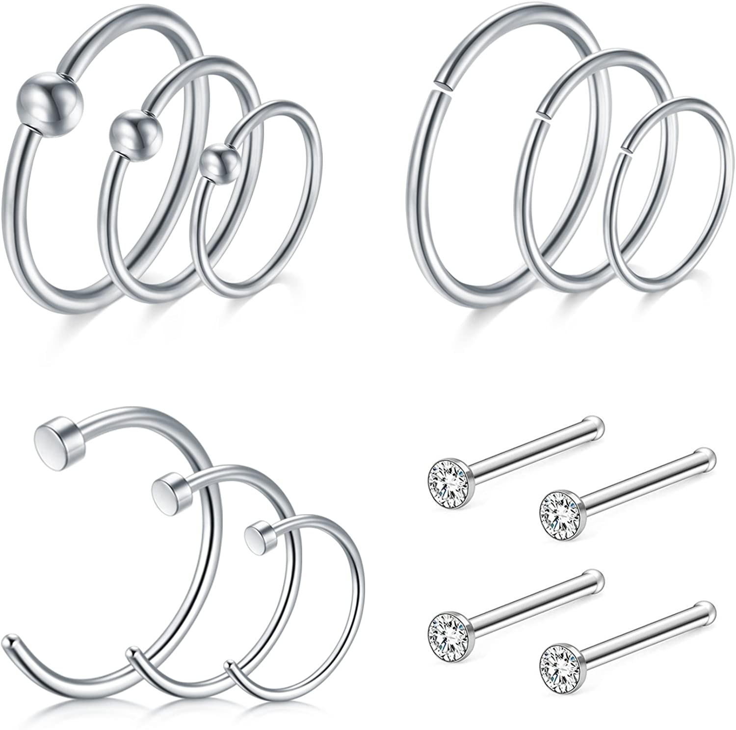 D.Bella Nose Rings 24pcs 20G 10mm 12mm Nose Hoops Rings Stainless Steel Nose Piercing Body Jewelry Set