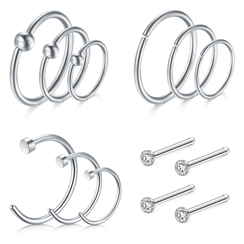 D.Bella Nose Rings Hoop, 16G Nose Rings 8/10/12mm Septum Rings Hoop for Lip Nose Helix Cartilage Piercing Rings Jewelry D.Bella Black Nose Rings Hoop DB16-025-B