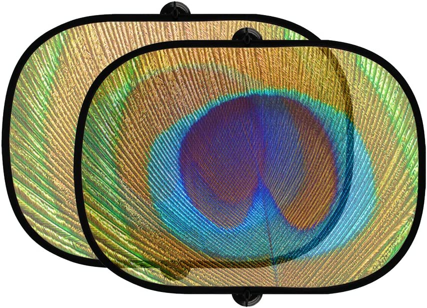 Style In Print Peacock Feather 2Pcs Foldable Auto Window Sunshade Mesh