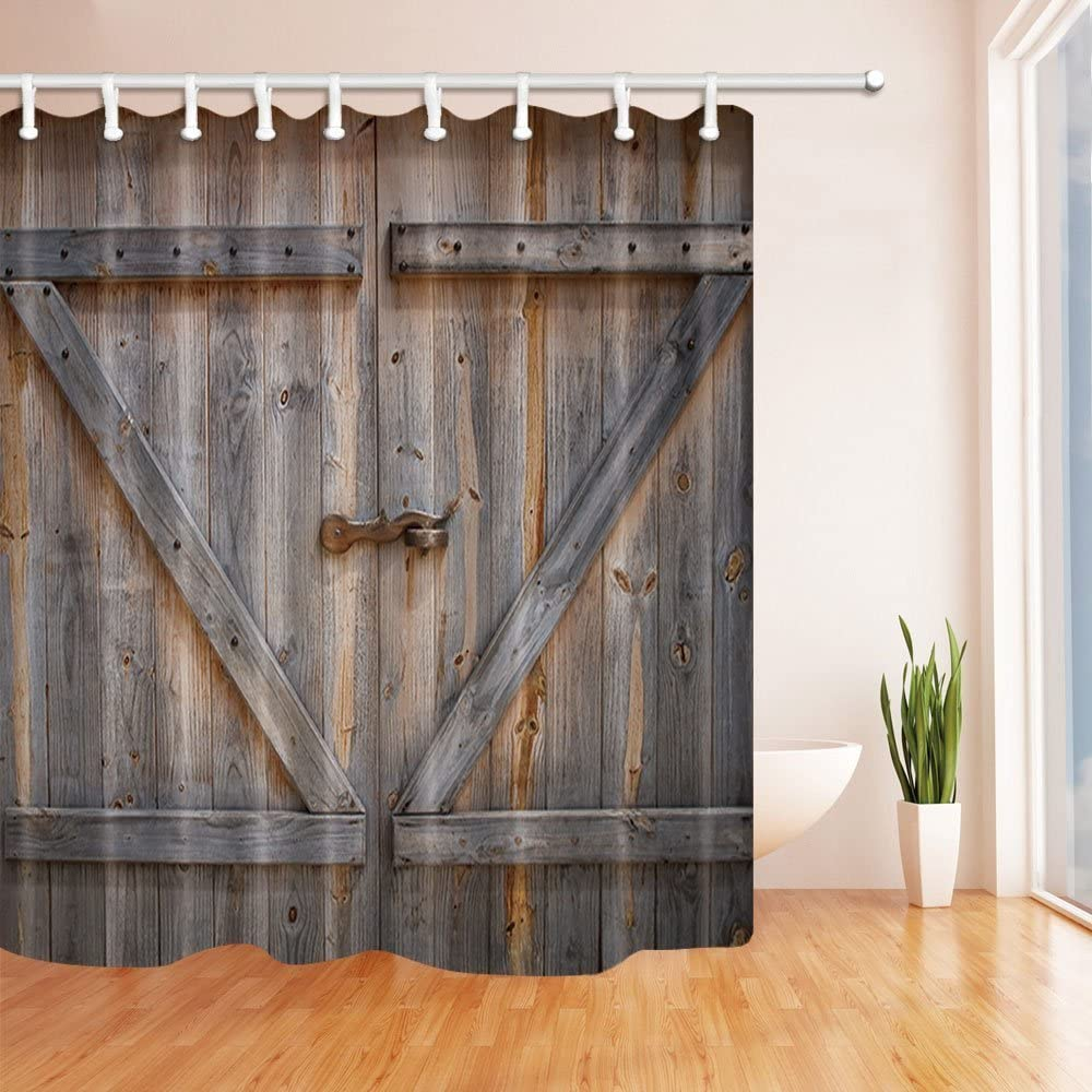 "Rustic Gray Barn Wooden Door Bathroom Fabric Shower Curtain Extra Long 71/"" X 79/"""