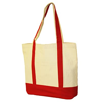 """10oz.Cotton Canvas Boat Totes with Front Pocket size 16"""" W x 13"""" H x 5"""" Gusset Red Color - Mother's Day Gift"""