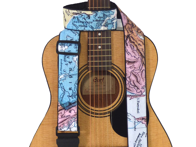 マップギターストラップ。北アメリカ、ヨーロッパ、アジアマップギターストラップすべてのタイプのギター。柔らかく、快適な、調節可能、パッド入ります。ギターaccessories.コード00314 B01MQJV4A6