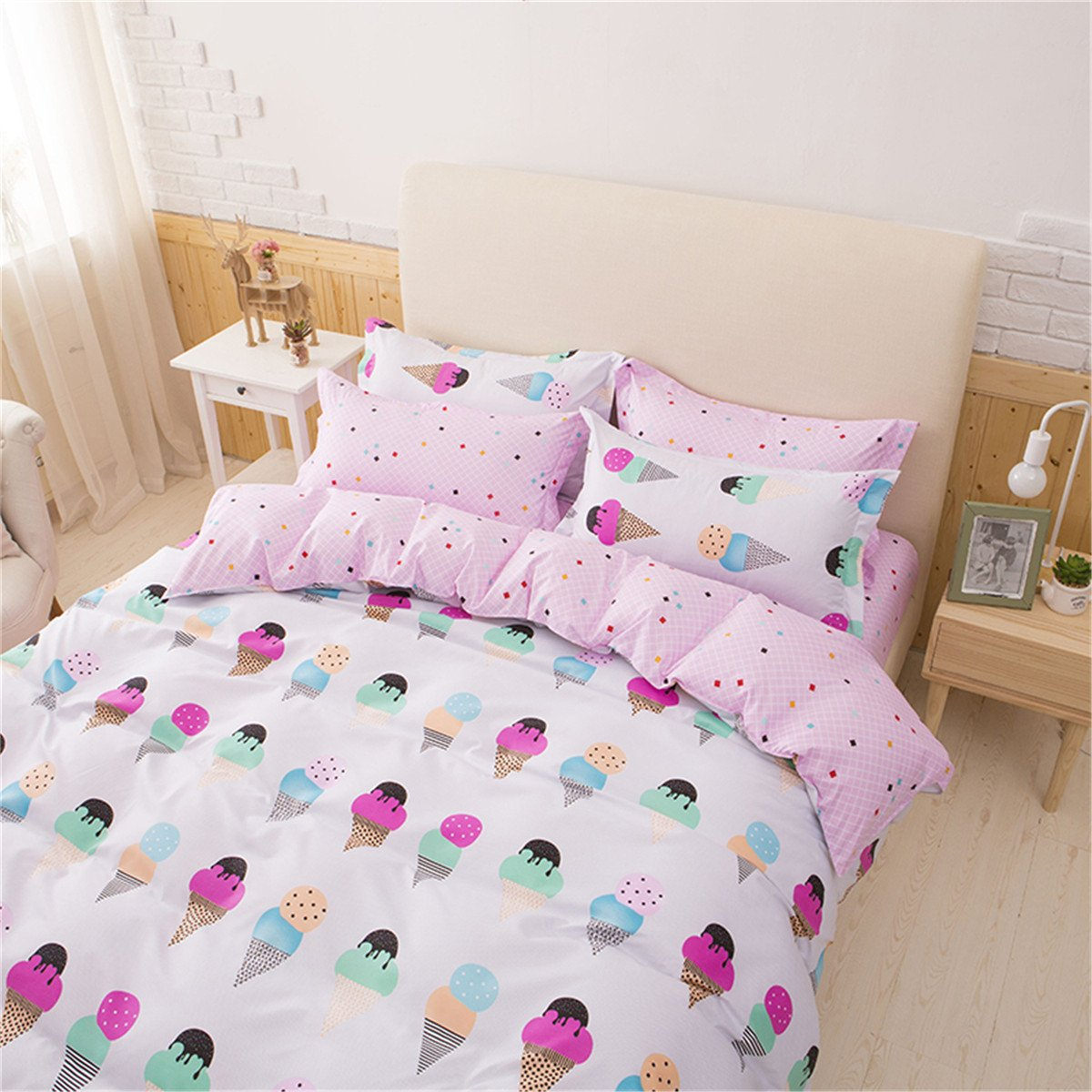 Sookie 3Pcs Cartoon Ice Cream Bedding (No Comforter and Sheet) Set for Kids Girls and Boys,Include Pink Duvet Cover +2 Pillowcases - Twin Size by Sookie (Image #1)