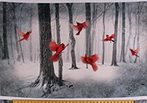 "28"" X 44"" Panel Cardinals Birds Snow Winter Woods Trees Forest Wildlife Nature Scenic Northwoods Landscape Call of The Wild Digital Print Cotton Fabric Panel (Q4461-292-CARDINAL)"