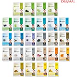 Dermal Korea Collagen Essence Full Face Facial Mask Sheet 26 Green & Yellow Combo Pack - Skin Soothing, Nourishing