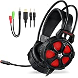 EasySMX Upgrate Version Comfortable Over Ear Stereo Gaming Headset Wired Headphone with Adjustable Headband and Microphone Mic USB and 3.5mm Audio Connector LED Indicator Noise Isolation/In-line Volume Control for PC Gamers