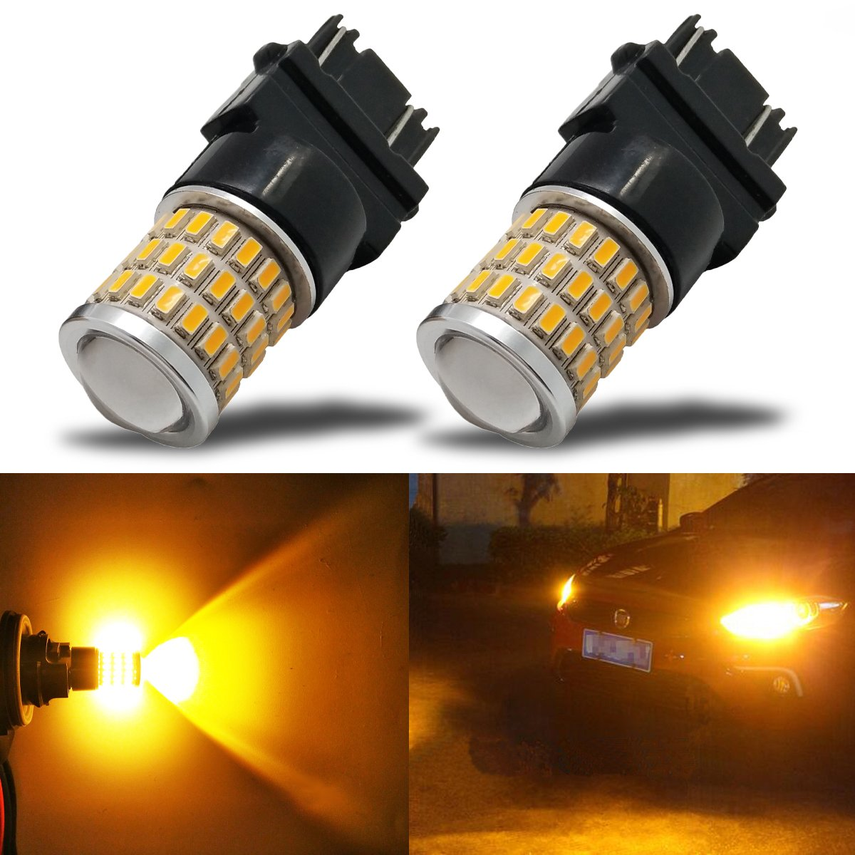 iBrightstar Newest 9-30V Extremely Bright Low Power 168 175 194 2825 W5W T10 Wedge LED Bulbs with Projector for Side Marker Light, Amber Yellow