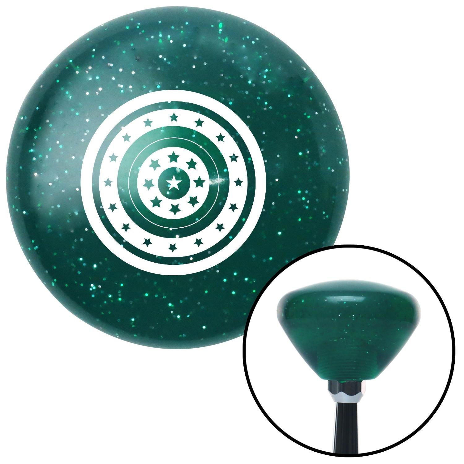 American Shifter 207644 Green Retro Metal Flake Shift Knob with M16 x 1.5 Insert White Star Target