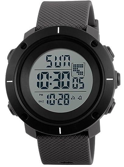 Podómetro Reloj Deportivo Hombre marca 50 m impermeable LED Digital cronómetro calorías alarma al aire libre