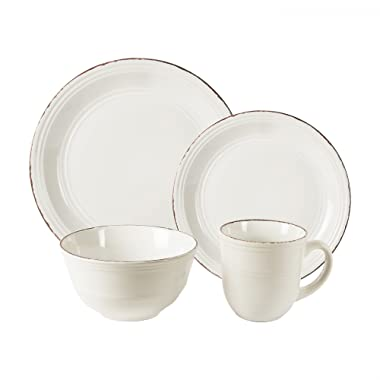 American Atelier 16 Piece Madelyn Dinnerware Set, White
