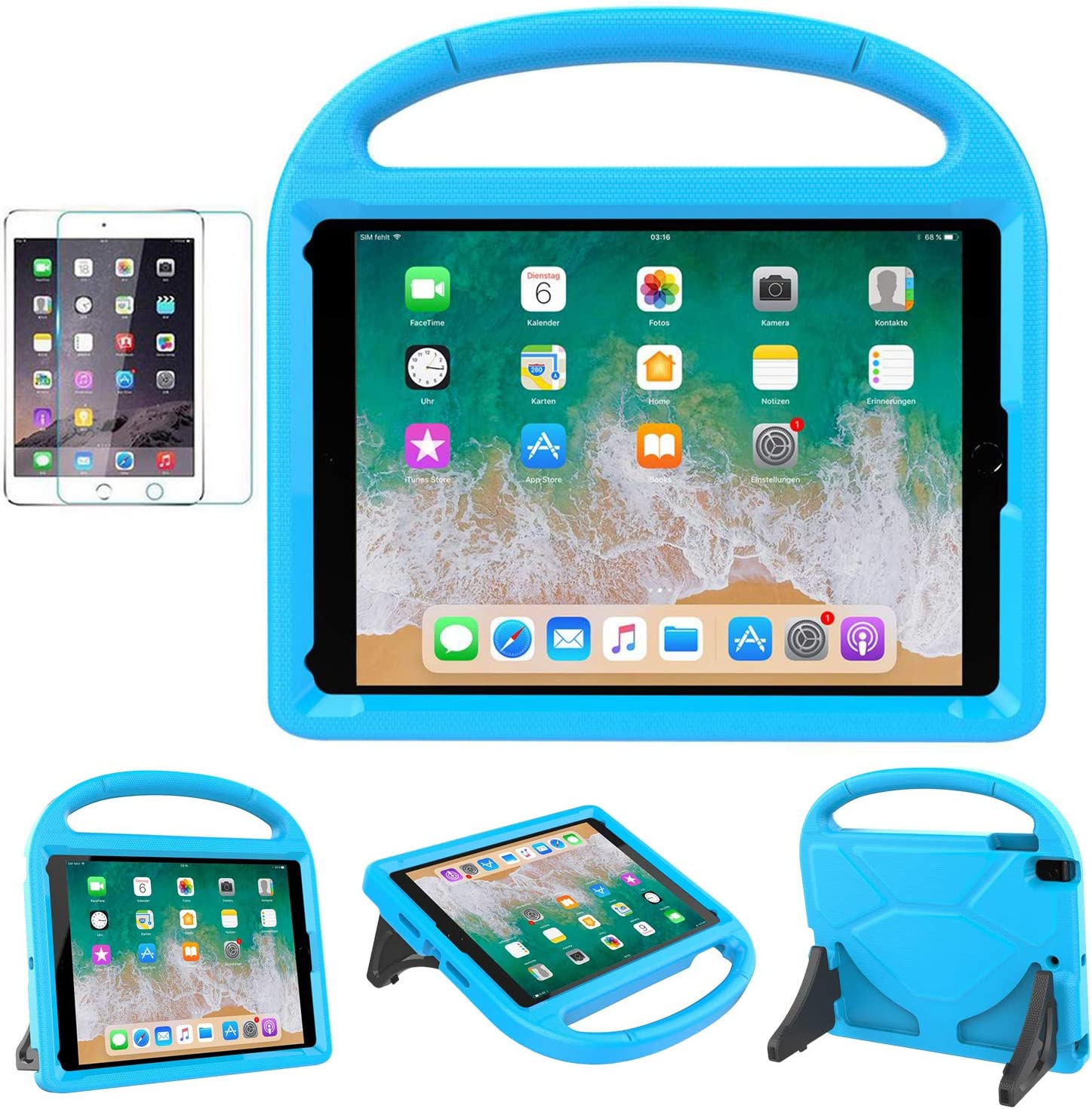 MOXOTEK Kids Case for iPad 9.7 2018/2017 / Air 1/2 / Pro 9.7, Durable Shockproof Protective Handle Stand Bumper Cover with Screen Protector for Apple 9.7 inch 5th/6th Generation, Blue