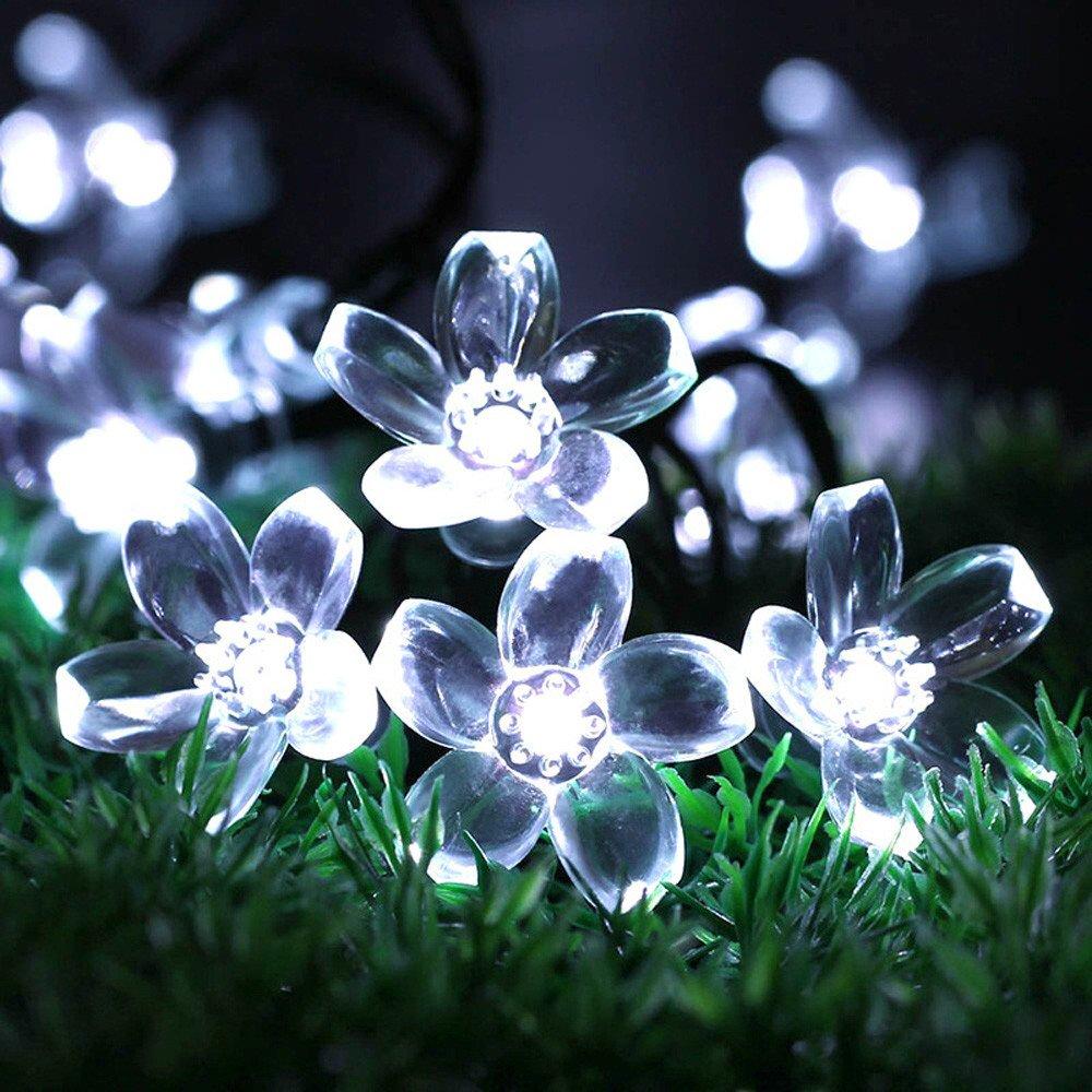 Lampade Led ASHOP 5m 50led Fiore Di Pesca Solare Alimentato Lampade Di Illuminazione Arredamento Da Giardino Per Esterni Led Luci Stringa Led Luci Decorative