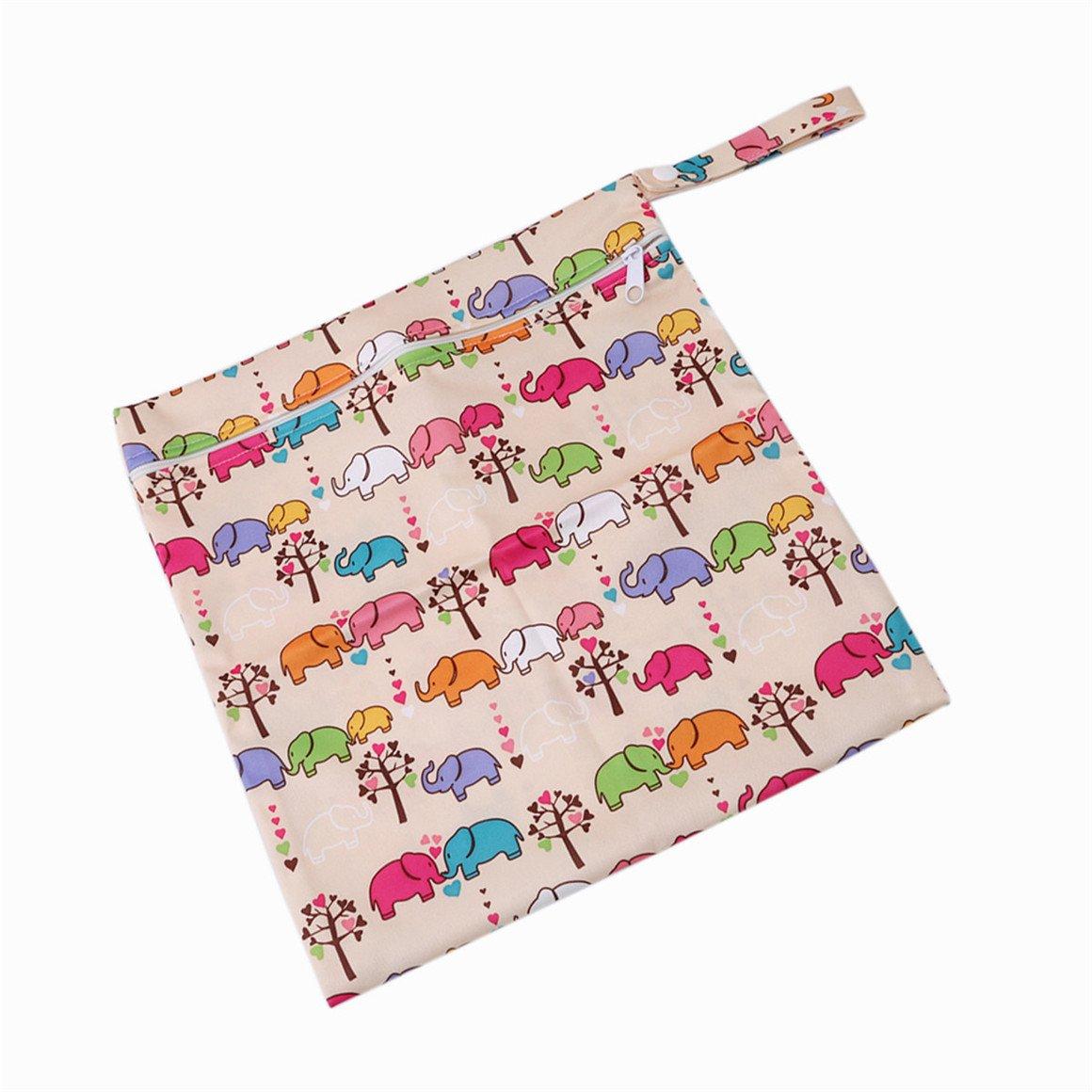 Elefanten ODN Baby Kleinkind Wasserdichtem Wickeltasche Rei/ßverschluss Wiederverwendbare Stoff Windel Tasche
