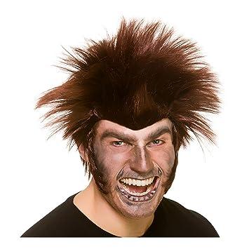 Hombre Adulto Brown Medianoche Werewolf Peluca Halloween vestido de lujo accesorio