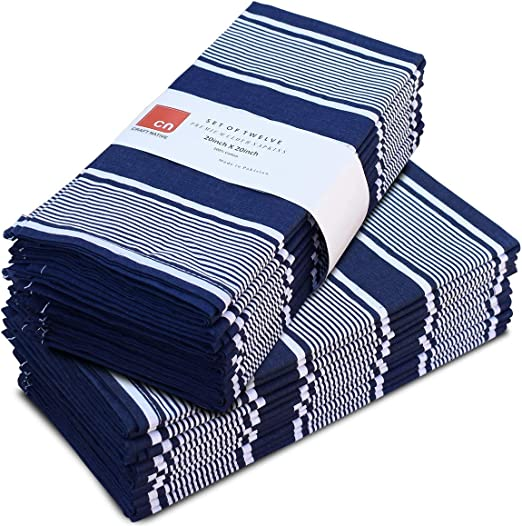 Amazon Com Cloth Napkins Set Of 12 Cotton 20 X 20 Inch Reusable