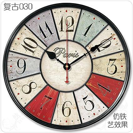 AISSION Wall Clock Pastoral Dormitorio Salón Retro Reloj de pared relojes modernos de madera,30cm