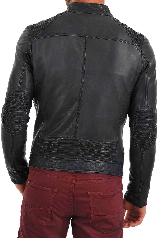 Ayesha Mens Leather Jackets Motorcycle Bomber Biker Genuine Lambskin 64