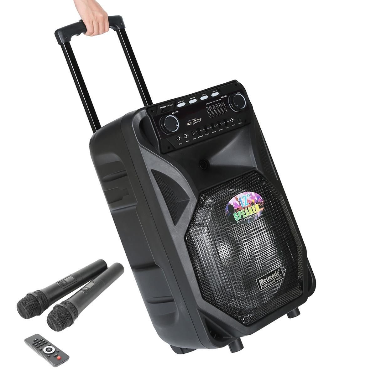 "Tengchang Pro 12"" Series Speaker DJ PA System Bluetooth Dual Wireless Mics Karaoke J0180052X-US"