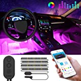 MINGER Unifilar Car LED Strip Light, 4pcs 48 LED APP Controller Car Interior Lights, Waterproof Multicolor Music Under…
