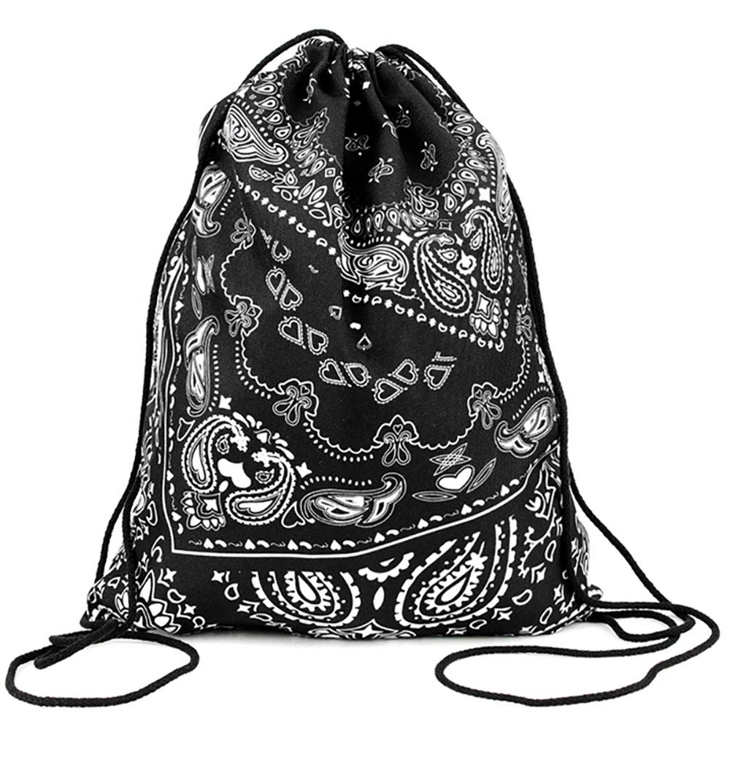 PREMYO Sac à Dos Cordon avec Motif Impression Bandana Joli Léger Ficelles en Tissu Filet Pratique en Voyage Ballade à Vélo Sport Gym Piscine Noir