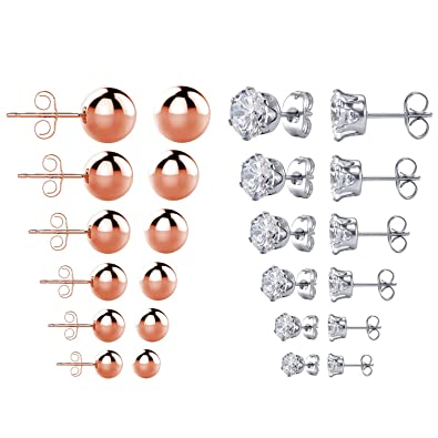 2ab2f5710 MallDou Jewelry Stud Earrings for Women Girls Teens Stainless Steel CZ  Earrings 6 Pairs & Rose