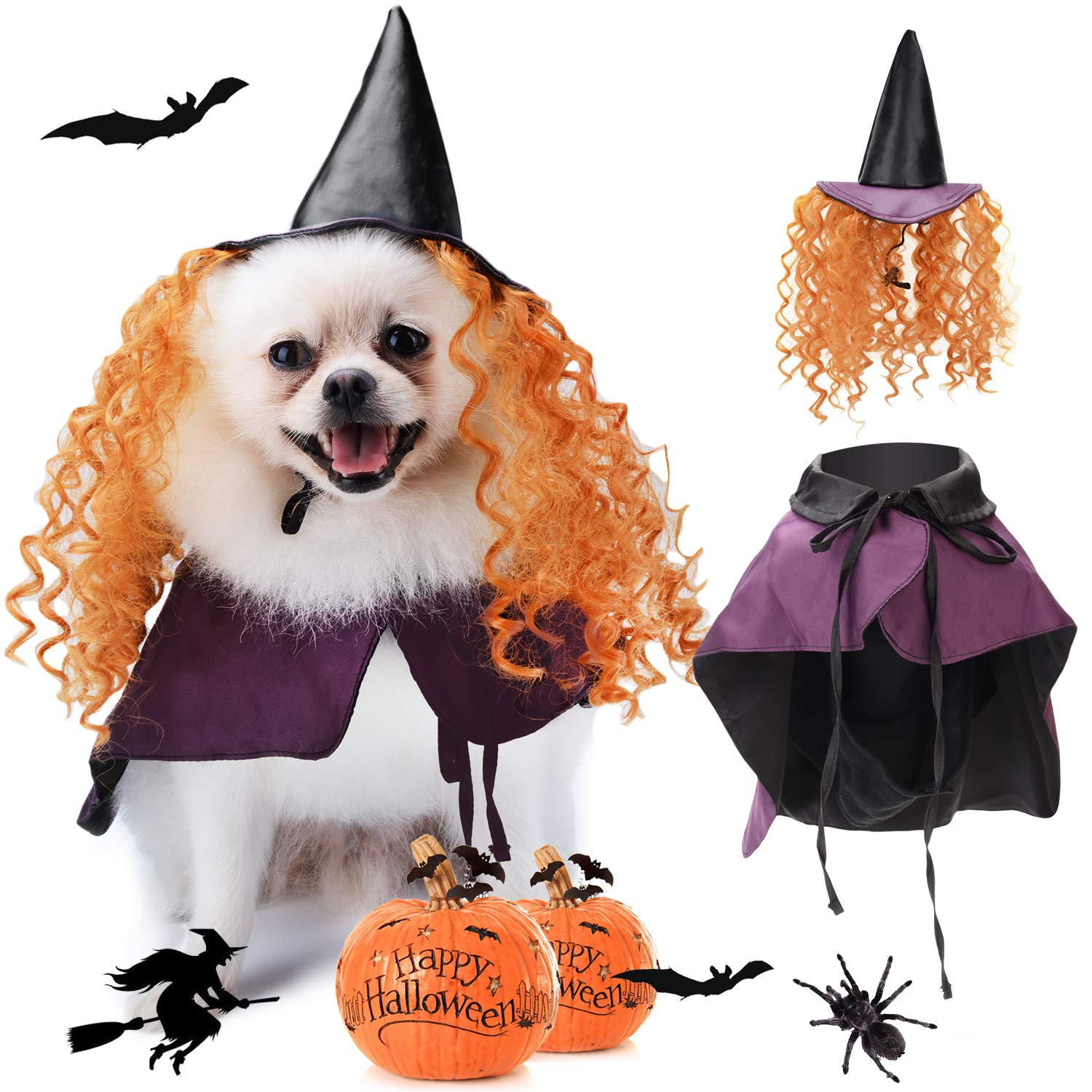 Legendog Halloween Costumes for Dogs, Dog Halloween Costumes, Funny Cat Dog Cape, Dog Wizard Cape and Dog Hat With Wig Pet Costume Set