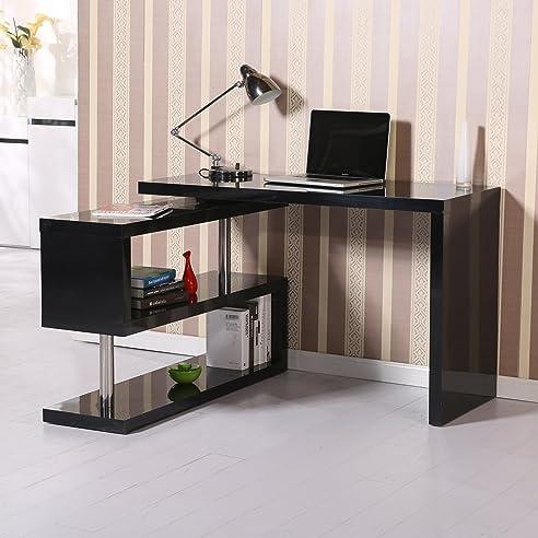 Winkelschreibtisch schwarz  Homcom® Computertisch Eckschreibtisch Winkelschreibtisch ...