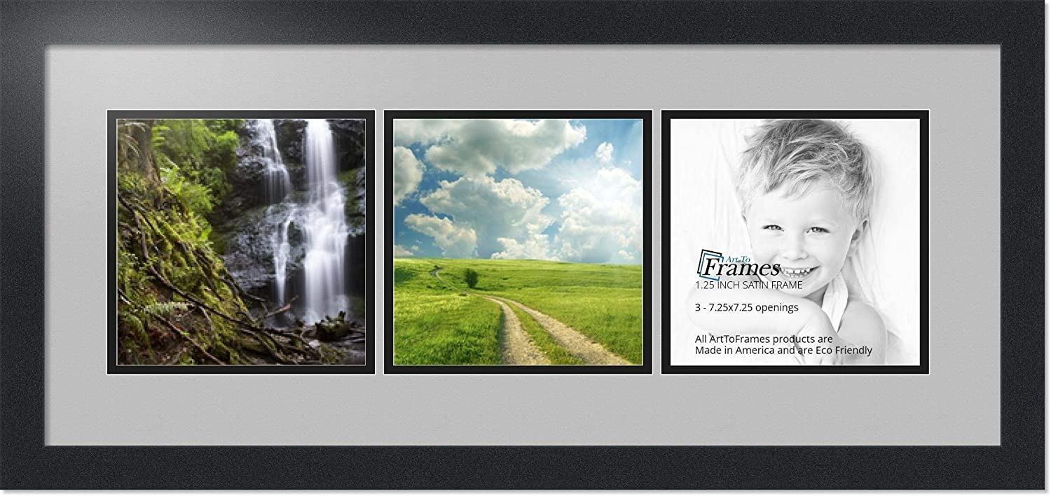 Art to Frames Double-Multimat-1426-88//89-FRBW26079 Collage Photo Frame Double Mat with 3-7.25x7.25 Openings and Satin Black Frame