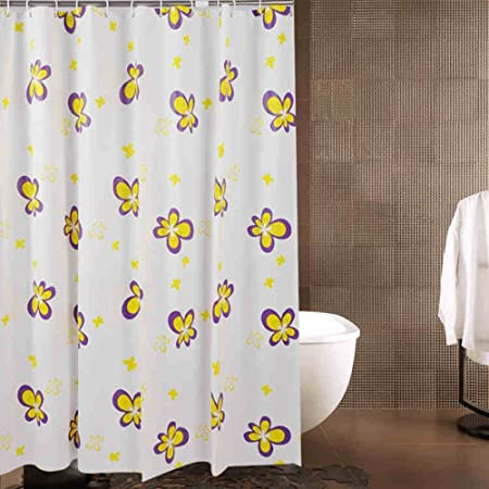 Personality Yellow Flower Shower Curtain High