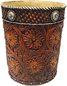 Marco Western Tooled Saddle Leather-Look Wastebasket w/Flowers & Conchos