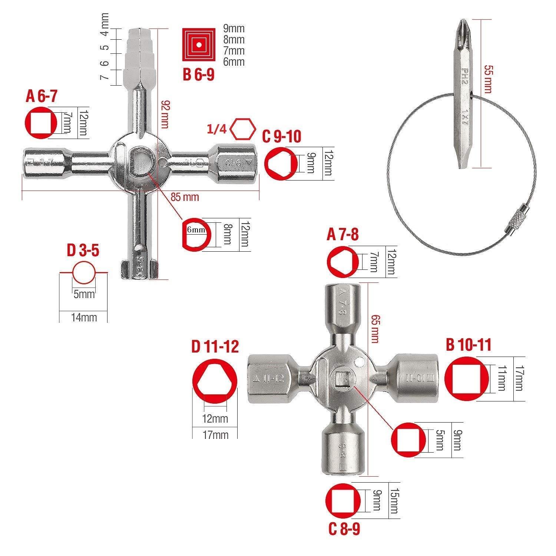 LATERN Llave de utilidad para gas Agua Caja de medidor el/éctrico Llave Gabinete de control Panel Apertura de llave Armario Radiador Llave cruzada