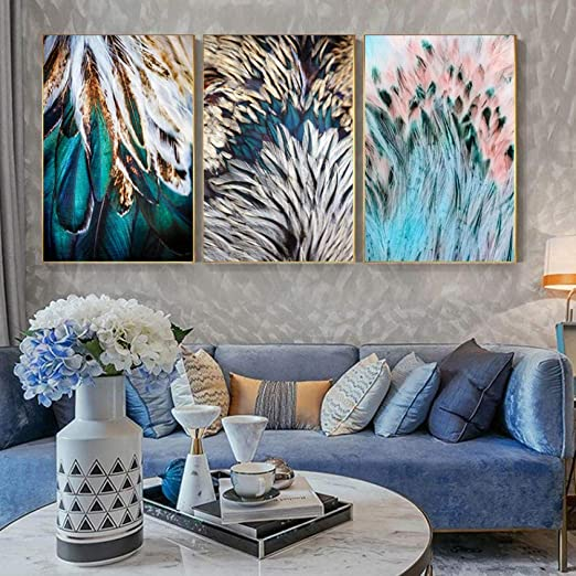 Amazon Com Abstract Feathers Wall Art Fine Art Canvas Prints Luxury Pictures For Living Room Bedroom Modern Fashionable Glam Home Decor 40x60cmx3 No Framed Posters Prints