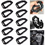 10Pcs Multipurpose Molle Tactical D Ring Clips Carabiner D-Ring Locking Buckle Hanging Hook Tactical Carabiner Keychain…