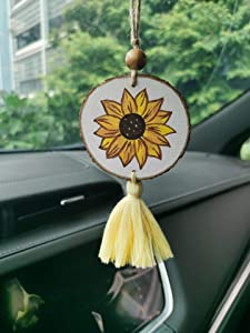 Hand Painted Sunflower Car Charm Sun Flower Rear View Mirror Hanging Boho Car Decor Gift for Her