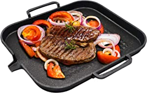 IAXSEE Non Stick Grill Pans Indoor Induction Grill Pan, 12 inch Stove Top Cast Iron Grill Pan with Double Loop Handles and Grease Draining System