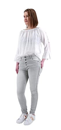 LEXXURY Damen stretch Baggy Jeans seitliche STREIFEN o. NIETEN Tapered Leg  Boyfriend Hose 10 Farben