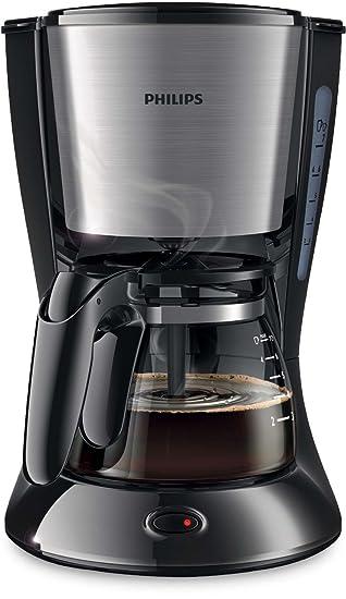Philips HD7435 Cafetera Goteo, Color Metal, 700 W, 6 Cups, plástico, Negro y gris