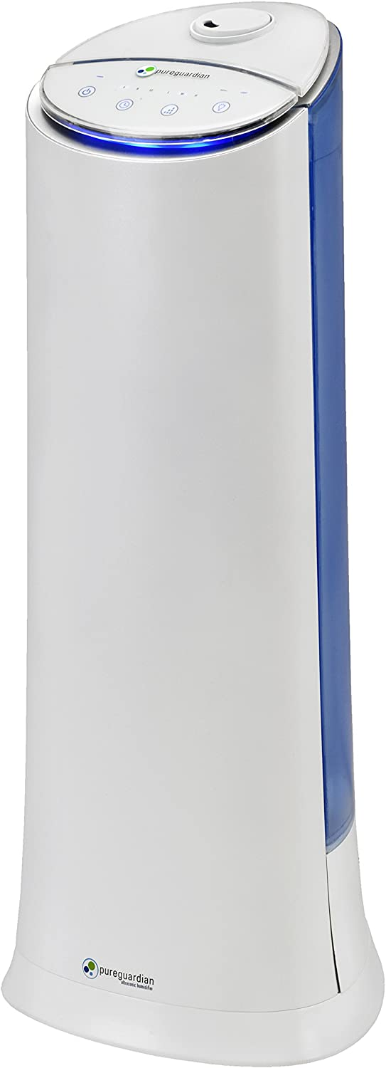 Pure Guardian H3200WAR Ultrasonic Cool Mist Humidifier, 100 Hrs. Run Time, 1.5 Gal. Tank, 440 Sq. Ft. Coverage, Medium Rooms, Quiet, Filter Free, Treated Tank Resists Mold, Essential Oil Tray
